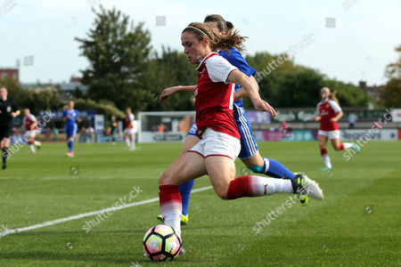 Heather O'Reilly of Arsenal women and Meaghan Sargeant of Birmingham City Ladies during Arsenal Women vs Birmingham City Ladies, FA Women's Super League FA WSL1 Football at Meadow Park on 24th September 2017