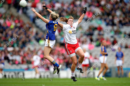 Tipperary vs Tyrone. Tipperary's Jennifer Grant and Niamh O'Neill of Tyrone