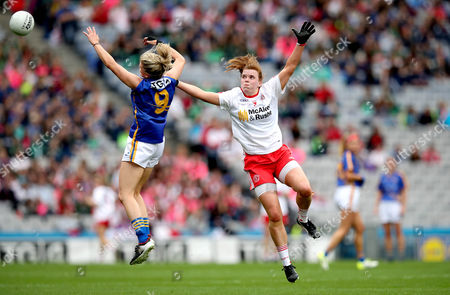Stock Picture of Tipperary vs Tyrone. Tipperary's Jennifer Grant and Niamh O'Neill of Tyrone