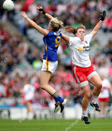 Stock Photo of Tipperary vs Tyrone. Tipperary's Jennifer Grant and Niamh O'Neill of Tyrone