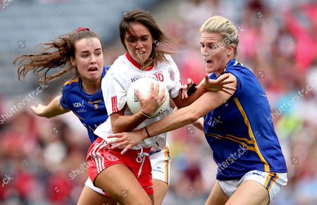 Tipperary vs Tyrone. Tipperary's Jennifer Grant and Niamh Hughes of Tyrone