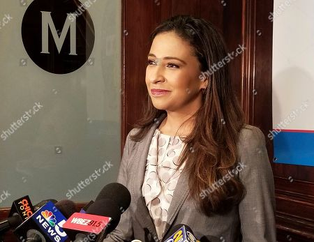 Erika Harold speaks to The City Club of Chicago, in Chicago. Harold, a Republican, is running for Illinois Attorney General next year, after AG Lisa Madigan's sudden announcement that she wouldn't seek a fifth term