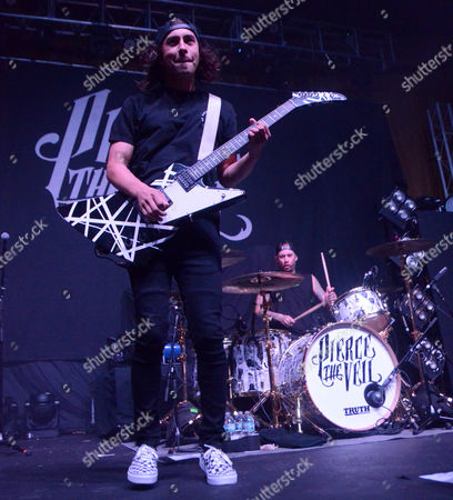 Stock Image of Lead singer Vic Fuentes of the band Pierce The Veil performs at the Skyway Theatre in Minneapolis, Minnesota