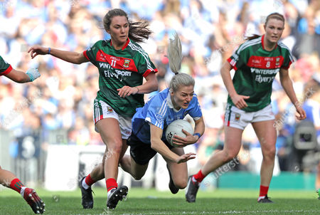 Dublin vs Mayo. Dublin's Nicole Owens with Niamh Kelly of Mayo