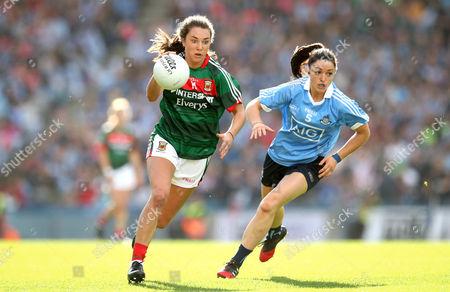 Dublin vs Mayo. Dublin's Sinead Goldrick and Niamh Kelly of Mayo