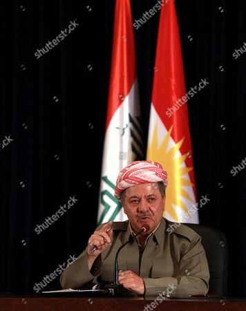 """President of Iraq's autonomous Kurdish region Massoud Barzani speaks to reporters during a press conference at the Salah al-Din resort, in Irbil, Iraq, . Barzani said Sunday, that the controversial vote on independence will go ahead as planned and that while the vote will be the first step in a long process to negotiate independence, the region's """"partnership"""" with the Iraqi central government in Baghdad is over"""