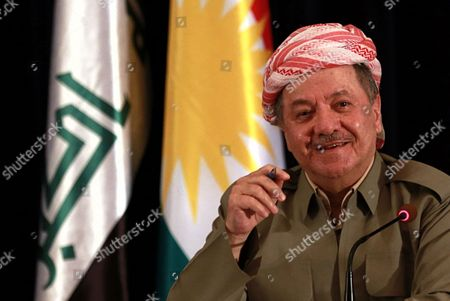 """The President of Iraq's autonomous Kurdish region, Massoud Barzani, speaks to reporters during a press conference at the Salah al-Din resort, in Irbil, Iraq, . Barzani said Sunday, that the controversial vote on independence will go ahead as planned and that while the vote will be the first step in a long process to negotiate independence, the region's """"partnership"""" with the Iraqi central government in Baghdad is over"""