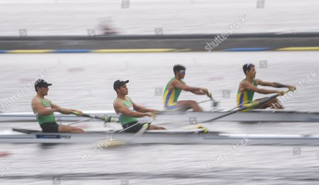Stock Image of Lightweight Men's Pair teams of Edmundo Reynoso (L) and Angy Canul (2-L) of Mexico and Xavier Vela Maggi (2-R) and Willian Giaretton of Brazil compete in a heat during the 2017 World Rowing Championships at Nathan Benderson Park in Sarasota, Florida, USA, 24 September 2017. The regatta continues through 01 October.