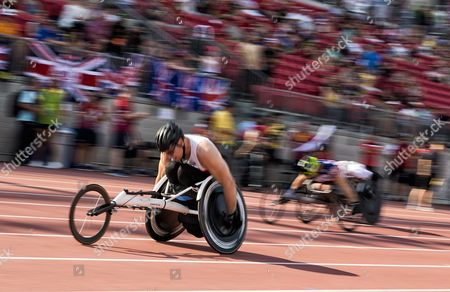 Canadian Michael Clarke competes in a Men's 200m IT5 Wheelchair Heat during the Athletic events of the third Invictus Games in Toronto, Canada, 24 September 2017. The eight-day event, established in 2014 by Prince Harry, includes over 550 injured soldiers and veterans from 17 countries competing in 12 adaptive sports.