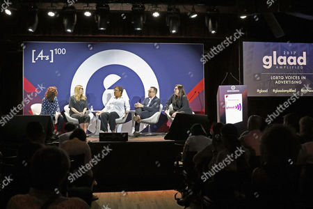 Stock Photo of Hannah Fishman (Executive Creative Director, DDB), Justine Armour (Group Creative Director, andSunny), Donna Pedro (Worldwide Chief Diversity and Inclusion Officer, Ogilvy and Mather), Paul Marcarelli (Actor and Spokesperson, Sprint), Andrea Diquez (New York, CEO, Saatchi and Saatchi)