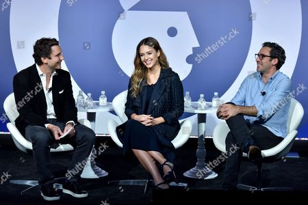 Stock Picture of Harry Kargman (Founder and CEO, Kargo), Jessica Alba (Founder, The Honest Company), Neil Blumenthal (Co-Founder and Co-CEO, Warby Parker)