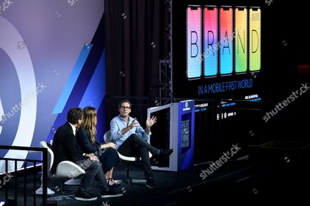Stock Photo of Harry Kargman (Founder and CEO, Kargo), Jessica Alba (Founder, The Honest Company), Neil Blumenthal (Co-Founder and Co-CEO, Warby Parker)