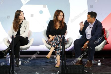 Stock Picture of Jordan Hewson (Founder and CEO, Speakable), Chrysi Philalithes (Chief Digital Officer, (RED)), Lydia Polgreen (Editor-in-Chief, HuffPost)