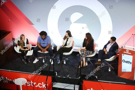 Molly DeWolf Swenson (Head of Brand and Co-Founder, RYOT), Jordan Hewson (Founder and CEO, Speakable), Chrysi Philalithes (Chief Digital Officer, (RED)), B Bonin Bough (Marketing Mogul and Host, Cleveland Hustles), Lydia Polgreen (Editor-in-Chief, HuffPost)