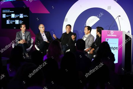 Stock Picture of Christian Brucculeri (CEO, Snaps), Fred Gerantabee (Global VP, Digital Innovation, COTY), Josh Golden (Publisher, Ad Age), Stefanos Loukakos (Director, Head of Messenger Business, Facebook), Tim Carr (Head of Social Marketing, Live Nation)