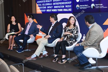 Sarah van Mosel (Chief Podcast Sales and Strategy Officer, Market Enginuity), Tyler Moody (VP and General Manager, Turner Podcast Network), Marshall Williams (CEO, Ad Results Media), Rockie Thomas (VP, Business Development, AdsWizz), Bryan Moffett (COO, National Public Media)