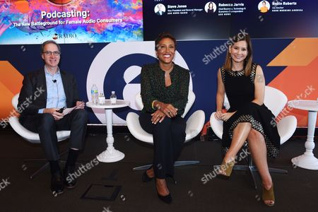 Steve Jones (VP and General Manager, ABC News Radio), Robin Roberts (Co-anchor, Good Morning America and Creator and Host of 'Everybody's Got Something' podcast), Rebecca Jarvis (Chief Business, Technology and Economics Correspondent at ABC News and Creator 'No Limits with Rebecca Jarvis' Podcast)