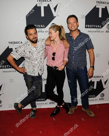 "Mike Piscitelli, (l to r) Rachael Taylor, and Patrick J Adams attend a screening of ""Pillow Talk"" during the Tribeca TV Festival at Cinepolis Chelsea, in New York"
