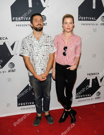 """Stock Photo of Mike Piscitelli, left, and Rachael Taylor attend a screening of """"Pillow Talk"""" during the Tribeca TV Festival at Cinepolis Chelsea, in New York"""