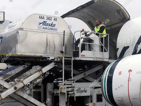 Alaska-New Cargo Plane. Alaska Airlines employee Jeff Ferguson loads cargo into the middle of a passenger plane at Ted Stevens Anchorage International Airport in Anchorage, Alaska. The airline is retiring its combi planes, Boeing 737-400s designed to be half cargo immediately behind the cockpit and then seating for 72 passengers in the rear