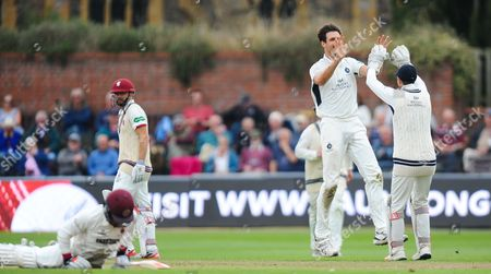 Steve Finn and John Simpson of Middlesex celebrate the run out of Tom Abell during the 1st Day of the Division 1 Specsavers County Championship match between Somerset and Middlesex at The Cooper Associates County Ground, Taunton 25th September 2017(