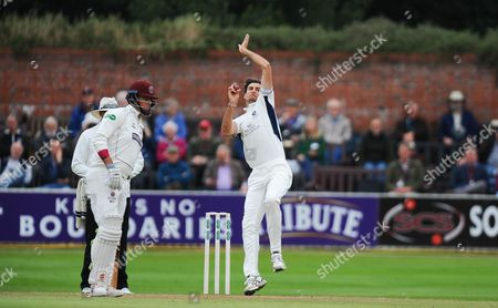 Steve Finn of Middlesex in action during the 1st Day of the Division 1 Specsavers County Championship match between Somerset and Middlesex at The Cooper Associates County Ground, Taunton 25th September 2017(