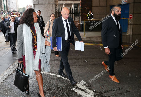 Pictured (L-R) Laura Flessel (French Sports Ambassador), Bernard Laporte and Sebastien Chabal arrive