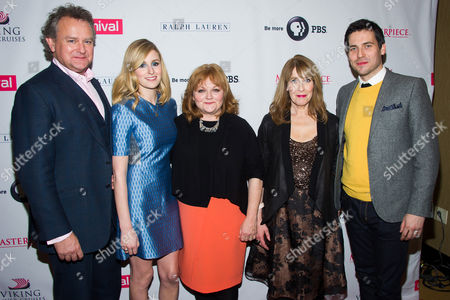 """Hugh Bonneville, from left, Laura Carmichael, Lesley Nicol, Phyllis Logan and Robert James-Collier attend the """"Downton Abbey"""" Season 5 cast photo call on in New York"""
