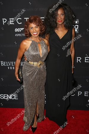 "Gloria Hendry, left, and Trina Parks arrive at ""Spectre"" - The Black Women Of Bond Tribute at the California African American Museum, in Los Angeles"