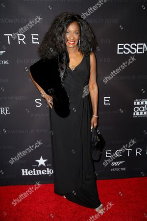 """Stock Picture of Trina Parks arrives at """"Spectre"""" - The Black Women Of Bond Tribute at the California African American Museum, in Los Angeles"""