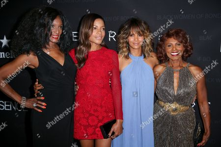 "Trina Parks, from left, Naomie Harris, Halle Berry and Gloria Hendry arrive at ""Spectre"" - The Black Women Of Bond Tribute at the California African American Museum, in Los Angeles"