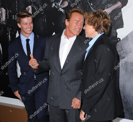 """L-R) Patrick Schwarzenegger, Arnold Schwarzenegger and Christopher Schwarzenegger attend the premiere for """"The Expendables 2"""" at Grauman's Chinese Theatre on in Los Angeles"""
