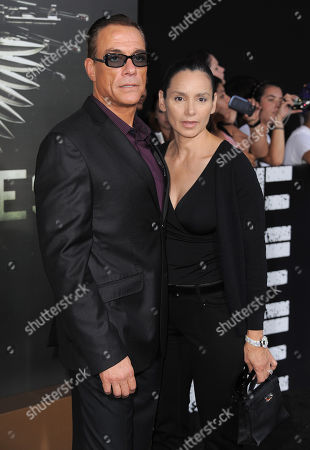 """Jean-Claude Van Damme and Gladys Portugues attend the premiere for """"The Expendables 2"""" at Grauman's Chinese Theatre on in Los Angeles"""