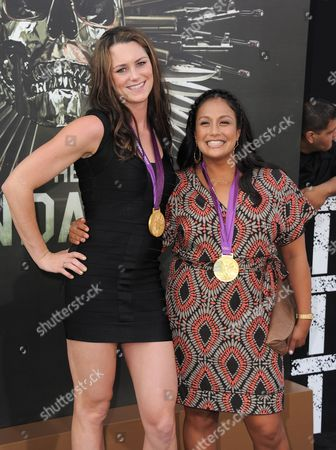 """Jessica Steffens and Brenda Villa attend the premiere for """"The Expendables 2"""" at Grauman's Chinese Theatre on in Los Angeles"""