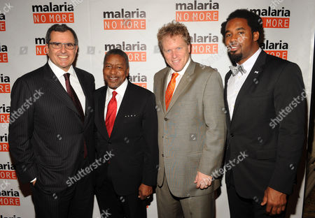 Stock Picture of From left, Co-Founder and Chairman Peter Chernin, CEO of RLJ Companies Robert L. Johnson, CEO David Bowen and Dhani Jones attend the 2012 Malaria No More International Honors on in New York