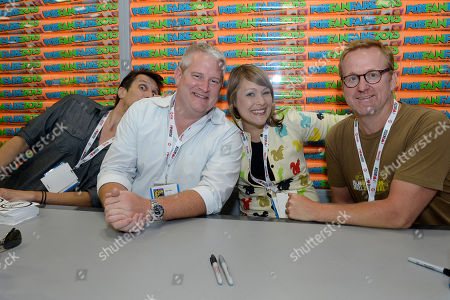 "From left, Lucky Yates, Adam Reed, Amber Nash and Matt Thompson attends the FX ""Archer"" booth signing on Day 2 of Comic-Con International on in San Diego, Calif"