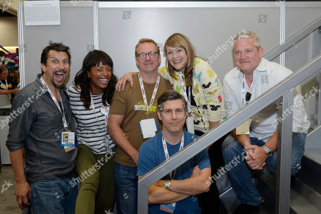 "From left, Lucky Yates, Aisha Tyler, Matt Thompson, Chris Parnell, Amber Nash and Adam Reed attend the FX ""Archer"" booth signing on Day 2 of Comic-Con International on in San Diego, Calif"