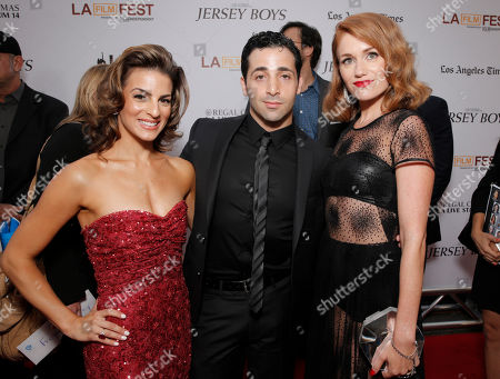 Stock Image of Renee Marino, Johnny Cannizzaro and Erica Piccininni attend the Warner Bros. Premiere of 'Jersey Boys' at the 2014 Los Angeles Film Festival held at Regal Cinemas LA Live Stadium 14, in Los Angeles