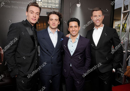 """Erich Bergen, from left, Vincent Piazza, John Lloyd Young and Michael Lomenda attend the """"Jersey Boys"""" premiere at the 2014 Los Angeles Film Festival held at Regal Cinemas LA Live Stadium 14, in Los Angeles"""