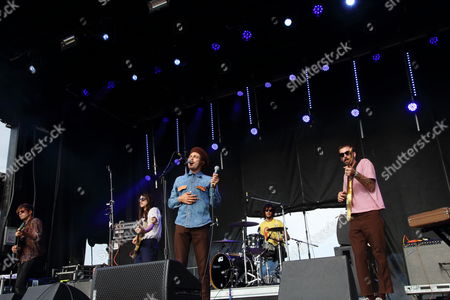 Matt Taylor, Anthony Braun Perry, Scott Montoya, Brooks Nielsen and Kyle Straka (L-R) and The Growlers performs at The Sasquatch! Music Festival at the Gorge Amphitheatre, in George, Washington