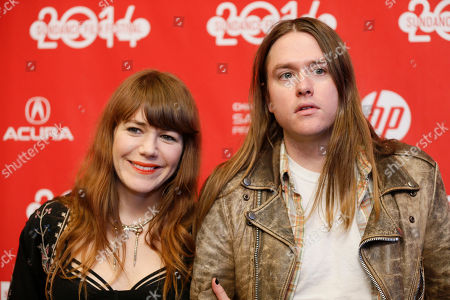 "Musicians Jenny Lewis, left, and Johnathan Rice, right, pose at the premiere of the film ""Song One"" during the 2014 Sundance Film Festival, on in Park City, Utah"