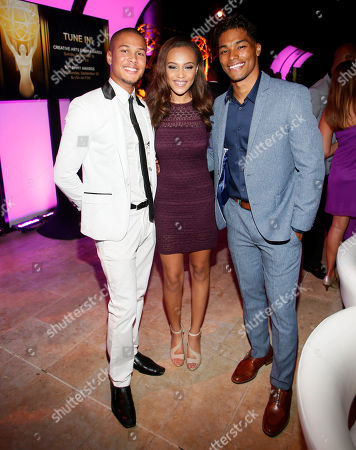 Najee De-Tiege, from left, Reign Edwards and Rome Flynn seen at the Television Academy's 67th Emmy Daytime Peer Group Celebration at the Montage Beverly Hills on in Beverly Hills, Calif