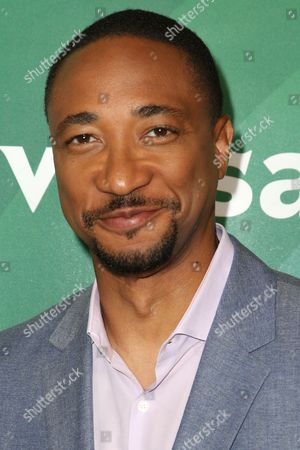 Damon Gupton arrives at the NBCUniversal Summer TCA Tour at the Beverly Hilton Hotel, in Beverly Hills, Calif