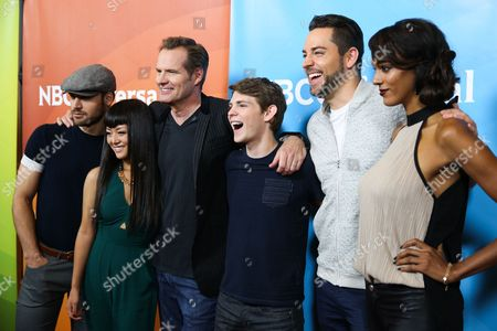 Ryan Guzman, from left, Kiki Sukezane, Jack Coleman, Robbie Kay, Zachary Levi and Judi Shekoni arrive at the NBCUniversal Television Critics Association Summer Tour at the Beverly Hilton Hotel, in Beverly Hills, Calif