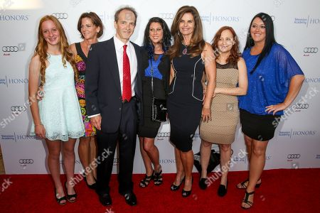 Karen Skelton, second from left, and her daughter, Anne Marie, and from third left Nick Doob, Lindsey Miller, Maria Shriver, Shari Cookson, and Katrina Gilbert arrive at the 2015 Television Academy Honors at The Montage Hotel, in Beverly Hills, Calif