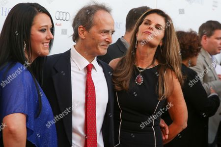 Katrina Gilbert, from left, Nick Doob and Maria Shriver arrive at the 2015 Television Academy Honors at The Montage Hotel, in Beverly Hills, Calif