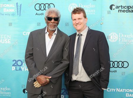 Morgan Freeman, left, and Gil Cates Jr. attends Backstage at the Geffen, in Los Angeles
