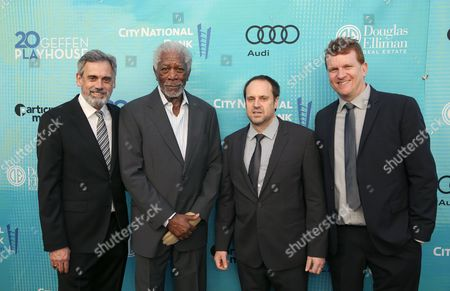Randall Arney, from left, Morgan Freeman, Jeff Skoll, and Gil Cates Jr., attend Backstage at the Geffen, in Los Angeles