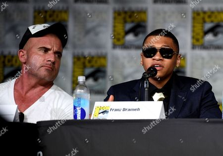 """Dominic Purcell, left, and Franz Drameh, attend the """"Legends of Tomorrow"""" panel on day 3 of Comic-Con International, in San Diego"""