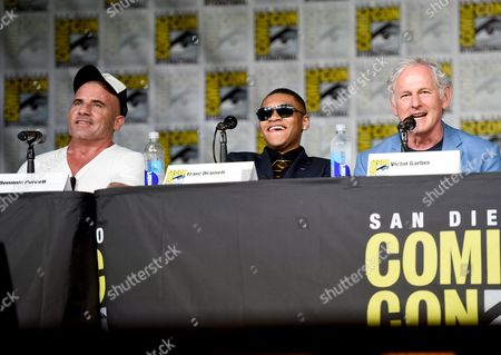 """Dominic Purcell, from left, Franz Drameh, and Victor Garber attend the """"Legends of Tomorrow"""" panel on day 3 of Comic-Con International, in San Diego"""